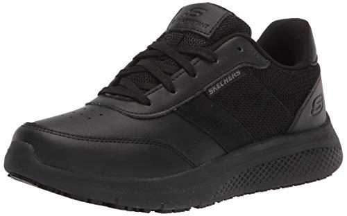 Skechers Women's Lace up Athletic Food Service Shoe, Black, 7.5