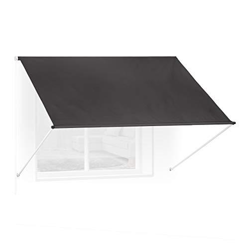 Relaxdays Fallarmmarkise HxB: 120x250 cm, Schattenspender Fenster, 50+ UV-Schutz, Seilzug, Polyester & Metall, anthrazit