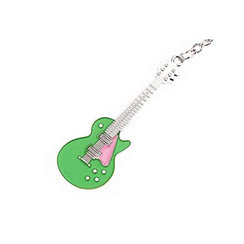 Xssbhsm Llaveros Personalizados Creativo Moda música Regalo Llavero Llavero de Metal Brillante Guitarra Llavero Regalo Moda Colgante Unisex Accesorios de Moda (Color : Green)