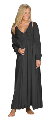 Shadowline Silhouette Gown and Peignoir Set (51737), Black, M