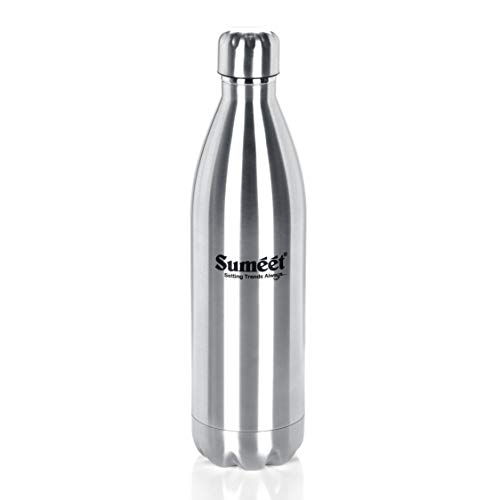 Sumeet Stainless Steel Double Walled Flask / Water Bottle, 24 Hours Hot and Cold, 1000 ml, Silver