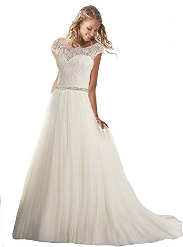 Women's Cap Sleeves Lace Wedding Dresses Long A-Line Tulle Bridal Gowns Ivory 12