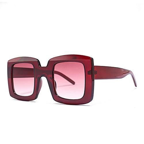 DLSM Estilo Moderno Gafas de Sol Unisex para Hombres y Mujeres Leopardo Negro UV400 Pesca Golf Conducción Montañismo Deportes al Aire Libre Gafas de Sol-C6 Red.Grad Rojo