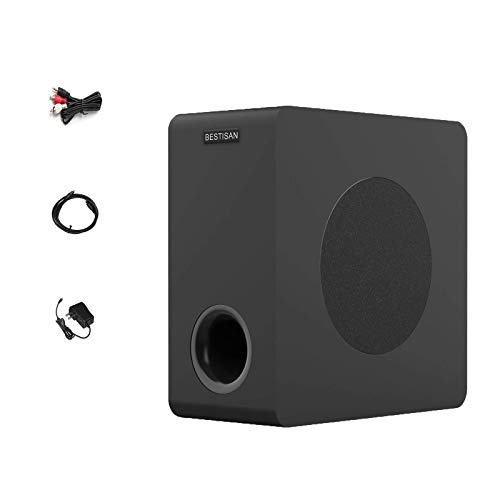 BESTISAN Powered Subwoofer, Compact Subwoofer for Home Audio Theater, Deep Base, Built-in Amplifier Wireless Subwoofer for TV, Optical/RCA/Bluetooth (6.5 Inch, Black,) (Renewed)