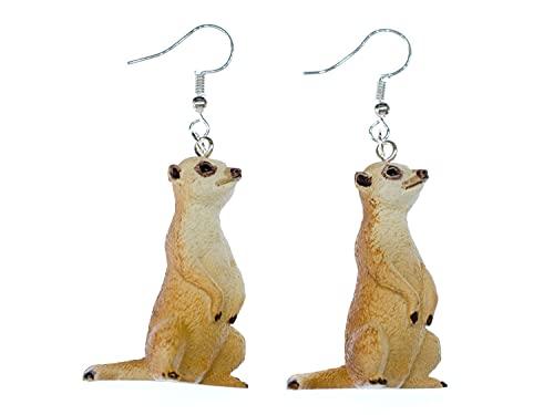 Aretes Miniblings suricatas Pendientes - hecho a mano joyas de moda I perritos depradera Erdmann Zoo sentado 38mm - Pendientes