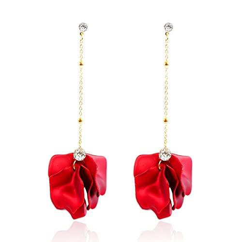 Libartly Pendientes, Exageración Moda Rosa Flor Borla Pendientes Largos para Mujer Dama Cumpleaños Regalo De Boda Pendientes Colgantes Joyas - Rojo Y Oro