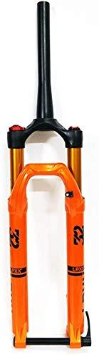 MGEE Front Fork, Barrel Shaft Cone Tube Shoulder Control Air Fork, 27.5/29 Inch Suspension Fork(Color:Orange,Size:27.5inch)