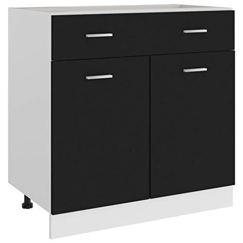 vidaXL Armario de Cocina Muebles Mobiliario Duradero Mesa de Trabajo Almacenamiento Cuencos Platos Ollas Alacena de Aglomerado Negro 80x46x81,5 cm
