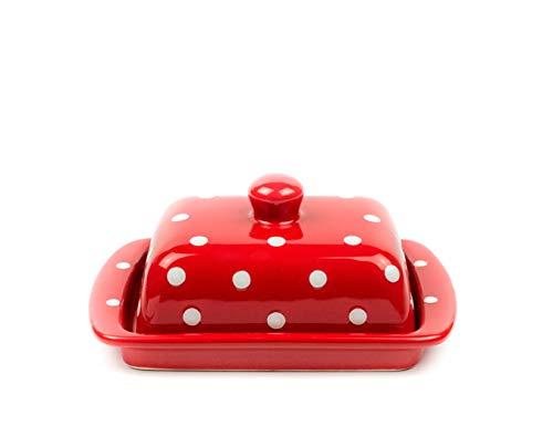 UNGARNIKAT Keramik Butterdose, Landhausstil, 250g Rot mit handbemalten weißen Punkten, Butterschale mit Deckel und Griff
