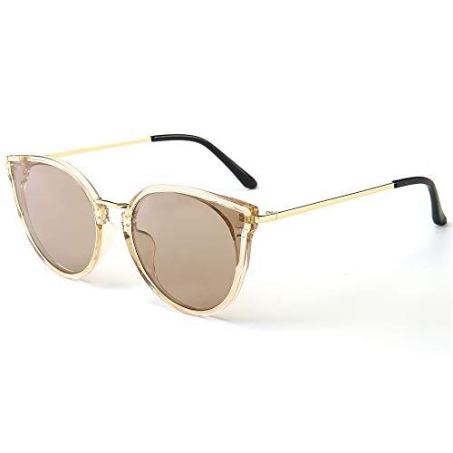 SUNGAIT Donna Occhio di Gatto Polarizzati Vintage Oversize UV-Protezione Occhiali da Sole(Frame Marrone Trasparente/Trasparente Marrone)