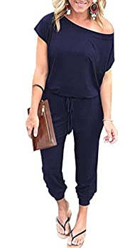 PRETTYGARDEN Women s Loose Solid Off Shoulder Elastic Waist Stretchy Long Romper Jumpsuit with Pockets Navy