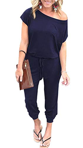 PRETTYGARDEN Women's Loose Solid Off Shoulder Elastic Waist Stretchy Long Romper Jumpsuit Navy