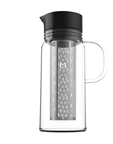 SHIKAN Wasserflasche, 1200ml Glas luftdichte Dichtung, Kaffee Filter Wasserkocher, Edelstahl Vakuum Drink Flaschen, Hot &Cold Sport Drink Flasche für Radfahren, Fitnessraum, Haus, Büro.