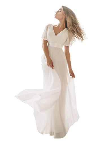 Ever-Pretty Damen Abendkleid Frau A-Linie Brautjungfernkleid V Ausschnitt Hochzeit lang Weiß 36