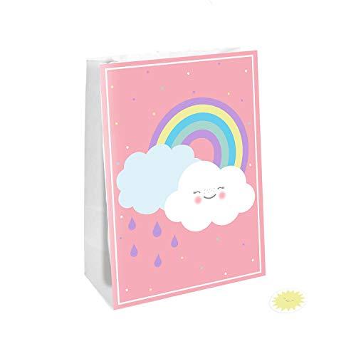 Amscan 9904305 – regnbåge-papperspåsar, 4 stycken, storlek 14,7 x 21 cm, med klistermärke, rosa med flerfärgade motiv, regnbåge och moln, regn, ansikte, presentpåse, förpackning, påse, give away