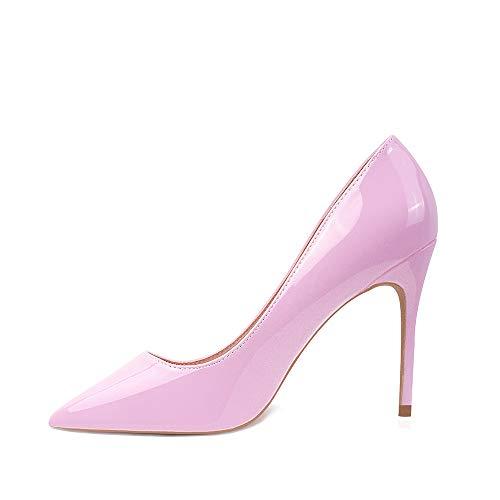 Hoher Absatz, 10 cm / 3,94 Zoll Stiletto High Heel Schuhe für Frauen Spitz Party Abendkleid Pumps Prom 10CM-RO-37 EU/ Etikettgröße- 7,Rosa