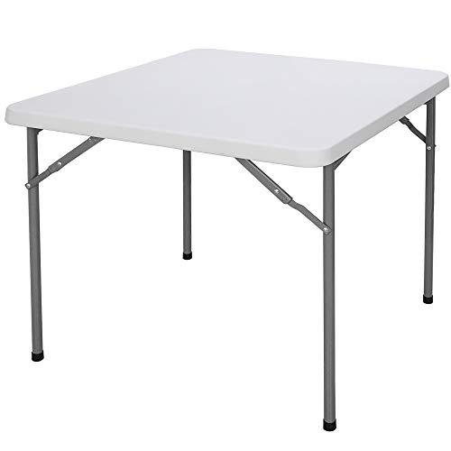 ZenStyle 3 ft White Plastic Folding Table, Square Card Table with Steel Legs Portable Utility Table Game Table for Cards Puzzles Crafting Picnic Dining Party, 34 x 29 Inch