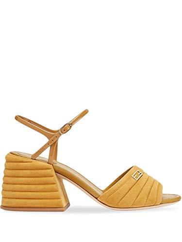 FENDI Luxury Fashion Damen 8X7067AAXJF0HEG Braun Wildleder Sandalen | Frühling Sommer 20