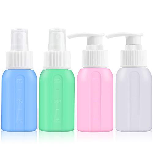 Juego de botellas de viaje de silicona de 50 ml para artículos de tocador aprobados por la TSA, accesorios de viaje recargables, contenedores de viaje a prueba de fugas (4 unidades)
