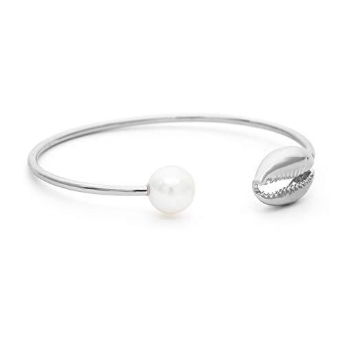 JUNXI Gold Color Cowrie Shell Bracelets for Women Pearl Beads Charm Cuff Opening Bracelet Bohemian Beach Jewelry