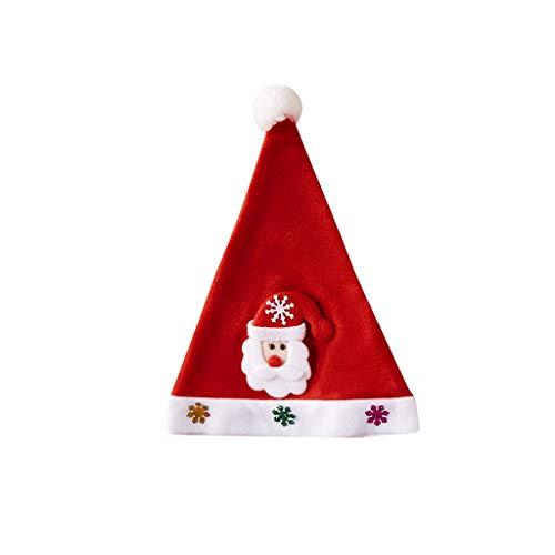 BIKETAFUWY Weihnachtsmütze Pailletten Weihnachtsmütze Weihnachtstag Dekoration Weihnachtsfeier Rot Santa Mütze Nikolaus Dicker Fellrand ür Weihnachtsfeier
