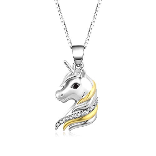 YFN Sterling Silber Einhorn zweifarbige Anhänger Halskette für Frauen, Mädchen (Einhorn-Halskette)