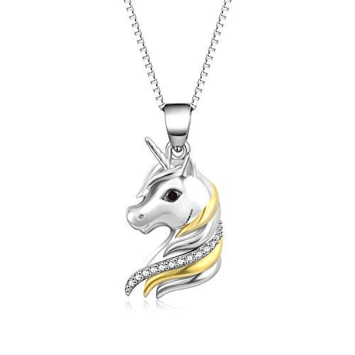 Sterling Silber Einhorn zweifarbige Anhänger Halskette für Frauen, Mädchen (Einhorn-Halskette)