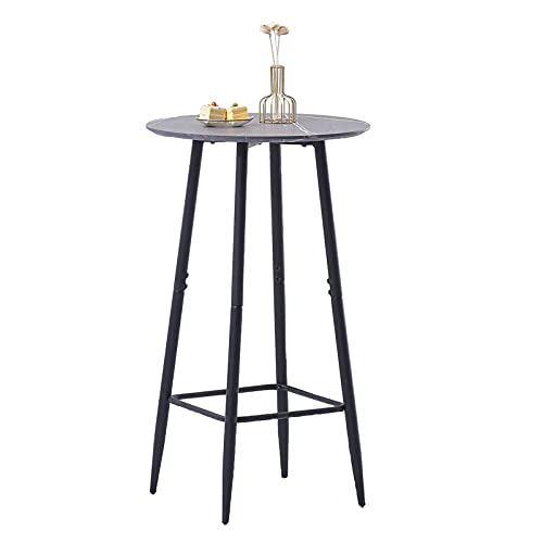 AINPECCA Bar Table, Dark Grey Round Kitchen Table Breakfast Dining Table with Marble Effect MDF Board and Metal Frame, Coffee and Party Table for Cocktails, Bar, Party Cellar, Restaurant dg