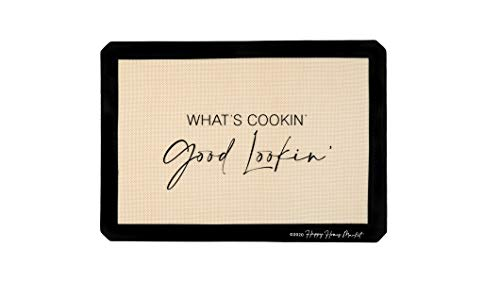 Happy Homes Market, Silicone Baking Mat, Non-Stick, Professional Grade Quality Baking Mat, Food Safe, BPA Free, Reusable, Eco- Friendly, Baking Sheet Liner, Single Pack, What's Cookin' Good Lookin'
