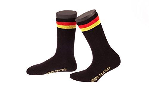 Deutschlandsocken, 1 Paar NORDPOL Socken, unisex, aus Baumwolle, mit Deutschlandfahne im Bündchen, Made in Germany, Gr. 35-38, schwarz