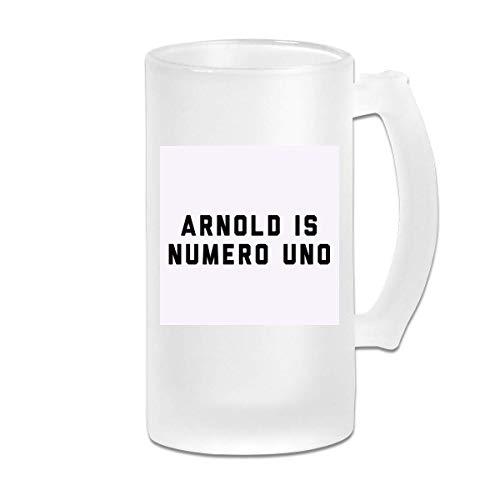 DJNGN Taza de jarra de cerveza de vidrio esmerilado de 16 oz impresa Arnold Schwarzenegger Arnold is Numero Uno, gorra de camionero WhiteBlack - Taza gráfica