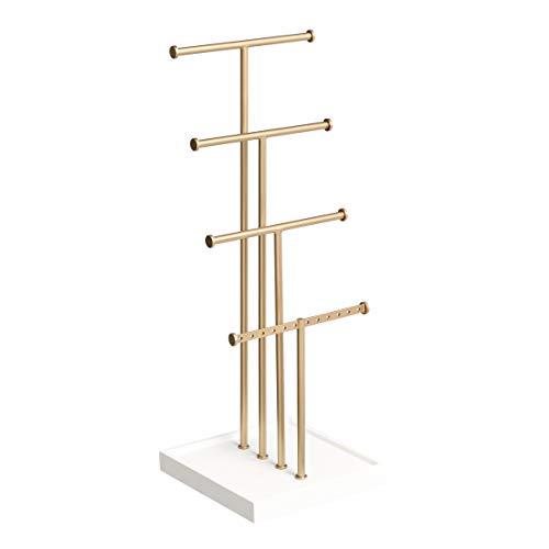 Amazon Basics Four-Tier Jewelry Tree Stand - White/Brass