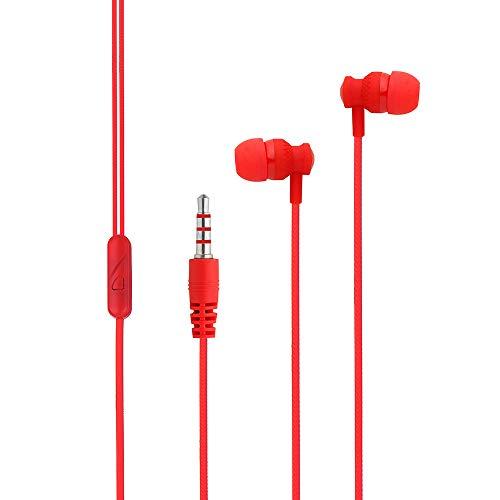 In-Ear 3,5 mm Stereokopfhörer Stereo-Ohrhörer Headset Kopfhörer-Headset mit Mikrofon für Handy-PC (Rot)
