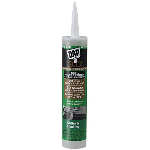 Product Image of the DAP 18377 3.0 Crystal Clear Premium Gutter and Flashing Sealant, 9 oz, Crystal Clear