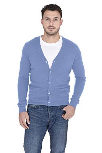 Cashmeren Men's Button Down Cardigan 100% Pure Cashmere Classic Knit V-Neck Sweater (Baby Blue, Small)