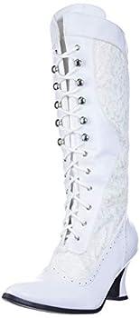 Ellie Shoes Women s 253 Rebecca Victorian Boot White 8 M US