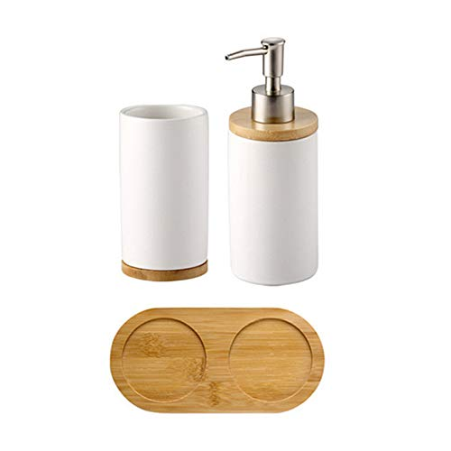 AZX Juego de Accesorios para baño, Juego de baño Cerámica,Botella para Pasta de Dientes + Vaso del Base Bombu, 400 ml Juego de baño jabonera,Color Blanco (1 Vaso + 1 Botella)