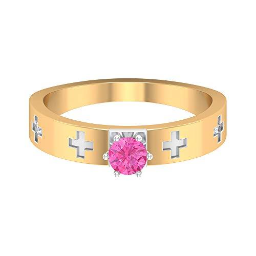 Rosec Jewels 14 quilates oro amarillo redonda round-brilliant-shape H-I Pink Diamond