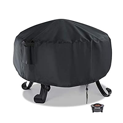 Flymer Round Fire Pit Cover Small, Waterproof Windproof Anti-UV Heavy Duty Patio Brazier Fire Bowl Cover 58x58cm, Black from Flymer