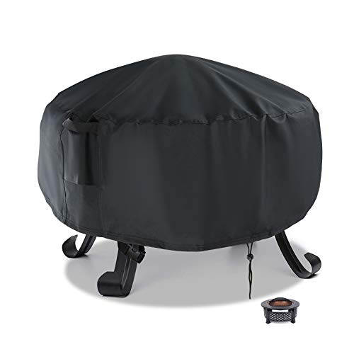 Flymer Round Fire Pit Cover Small, Waterproof Windproof Anti-UV Heavy Duty Patio Brazier Fire Bowl Cover 58x58cm, Black