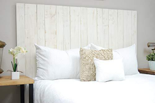 Dydaya Cabecero de Madera Blanco Vintage de 115 x 80 cm para Cama de 105 & Cabezal & Respaldo