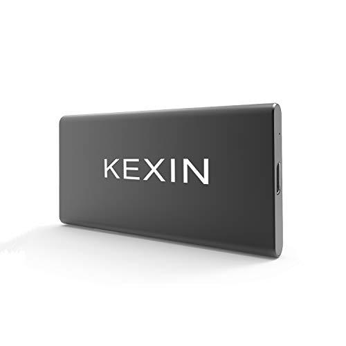 KEXIN 250 GB Externe SSD Portable USB C Fast SSD Festplatte bis zu 550 MB/s Solid State Drive mit USB-C zu USB 3.0 Kabel funktioniert für Windows Mac OS Computer PS4 Xbox One Smart TV (schwarz)