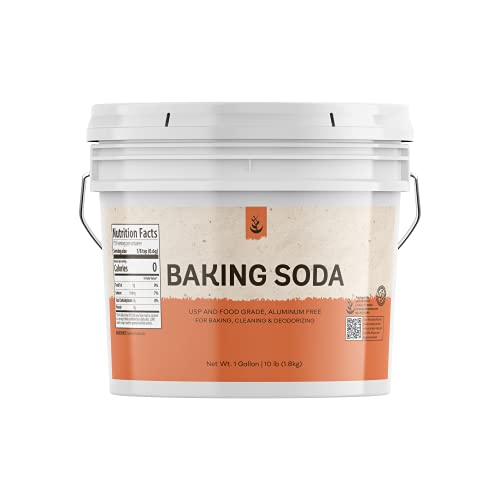 Baking Soda (1 Gallon Bucket), Highest Purity, Aluminum Free, Food & USP Grade, For Cooking, Baking, Cleaning, & More!