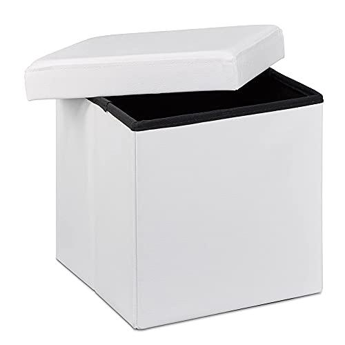 Taburete almacenaje, baúl almacenaje pequeño y Plegable, Cuadrado, piél sintética 38x38x38 cm (Blanco)