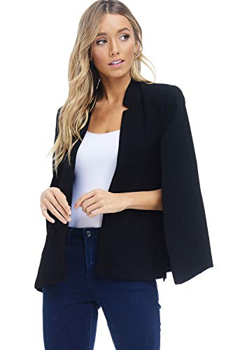 Alexander + David Women's Woven Structured Cape Blazer Coat, Suit Jacket with Pockets (Black, X-Large)