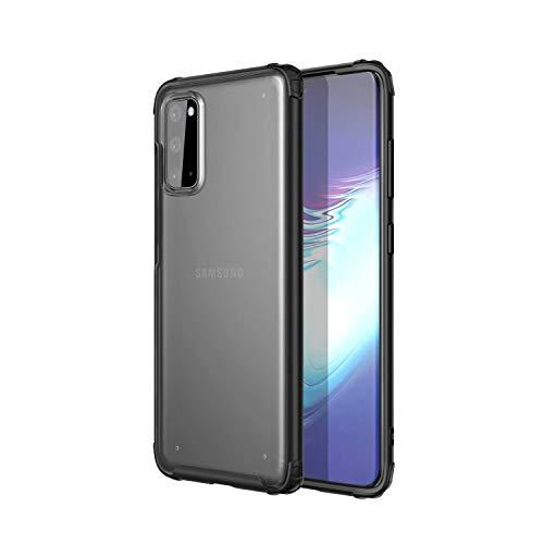 AILZH Carcasa para Funda Samsung Galaxy S20 [TPU+PC] Suave Silicona Protección Caso Antichoque Anti-rasguño Ultradelgado Parachoques Bumper Anti-Shock Case Cover(Mate translúcido-Negro)