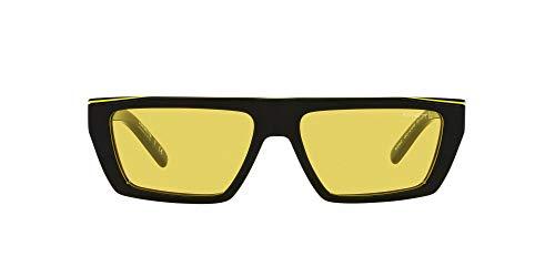 ARNETTE An4281 Woobat - Gafas de sol rectangulares para hombre, Negro/Amarillo/Negro/Amarillo,