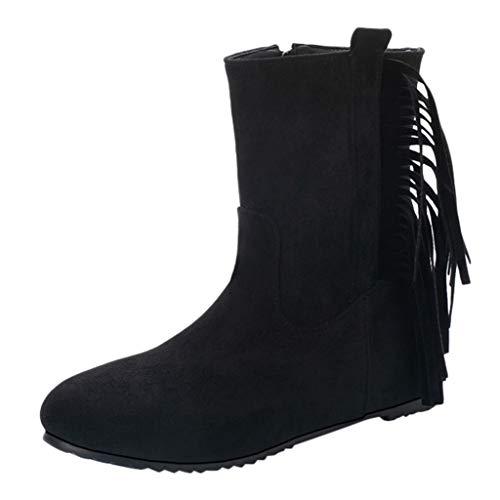 Luckycat Botas de Nieve Zapatos para Invierno Mujer Piel Forradas Calientes Casual Calzado Antideslizante Botines Borla Botines De Altos Tacón Mujer Terciopelo con Plataforma Ante Forrados 5cm