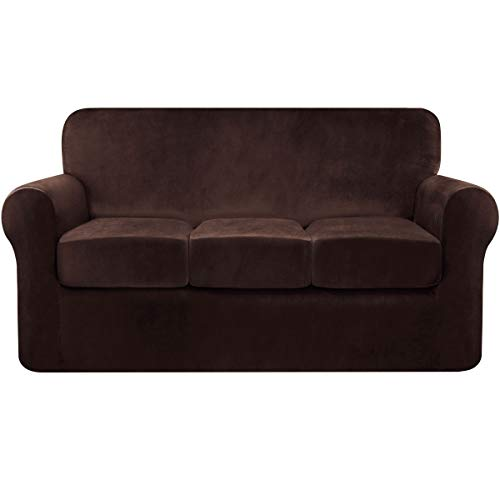 Fassbel Stretch Velvet Sofa Slipcover 4 Piece Sofa Cover Furniture Protector Separate Cushion Couch Covers for 3 Cushion Couch (Large, Chocolate)
