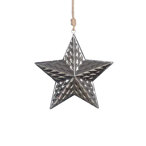 Deko-Hänger Stern Liz 14 cm, 3D Struktur, Silber-glänzend, wetterfester Deko-Anhänger Metall/Weihnachts-Deko auch draußen für Tannenbaum, Kränze, Gestecke/Winterschutzfibel gratis